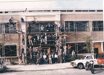 Part of the construction team that built Parker Plaza in Berkeley in 1984.