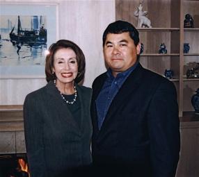 With Nancy Pelosi - December 2003.