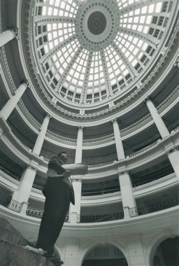 Before it all began - Phil looking up at the shuttered Rotunda dome before the reconstruction started.