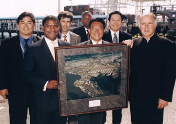 Secretary of Transportation Rodney Slater visits the Port of Oakland.