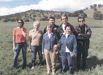 Carol Hart, Gail Kautz, Phil, Bobby Shriver, Paul Junger Witt (back row). Ruth Coleman (executive director), and Sophia Sherman (front row).